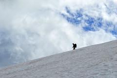 Between the Mountain and the Clouds (Sotosoroto) Tags: dayhike hiking mtrainier burroughsmountain cascades washington mountains snow cloud silhouette