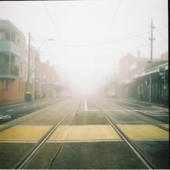 In the town called Silent hill. (Brendan_Timmons) Tags: street 120 6x6 tlr film fog mediumformat tracks tram eerie yashicamat yashinon 80mmf35 kodakektacolorpro160