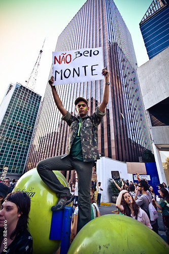 Demonstrator against Belo Monte in Sao Paulo, June 19. Photo by Pedro_dm_Ribeiro, on Flickr (CC-BY-NC 2.0).