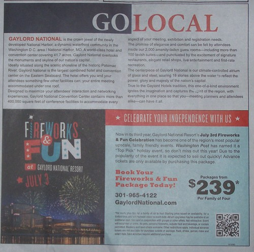 "National Harbor ""Go Local"" ad, Gazette newpapers 6/22/2011"