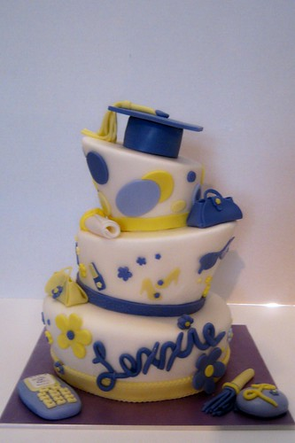 Topsy Turvy graduation cake by Cake Maniac