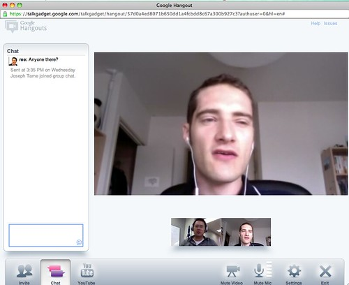 "Screenshot of ""Hangout"" in Google+ with Joseph Tame @tamegoeswild"
