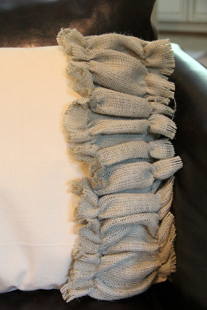 ruffled burlap pillow