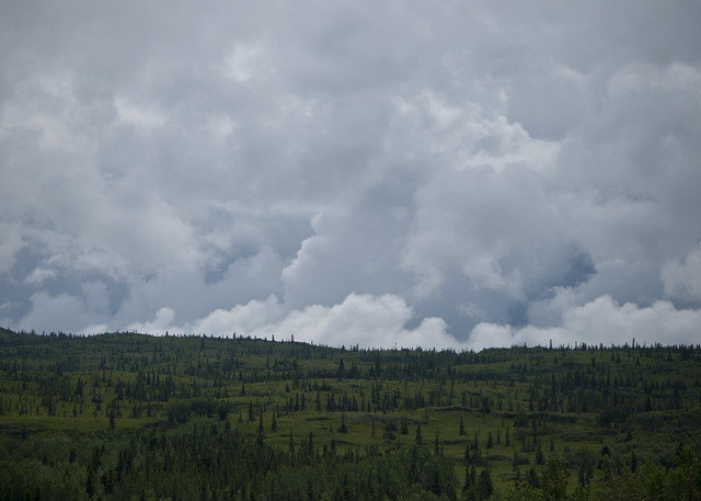 Low clouds high land