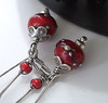 red and silver lampwork earrings 003 (Lune2009) Tags: flower glass lune handmade earring dangle lampwork darkred sterlingsilver lipstickred applered kidneyearwire hilltribessilver lunedesigns