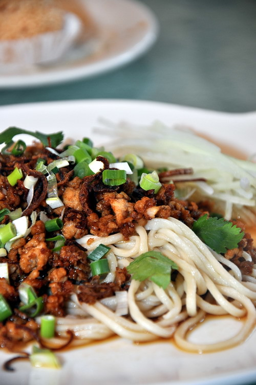 La Mian with minced chicken and onion oil