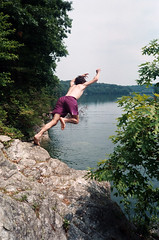 dailey (Jacob Seaton) Tags: boy cliff man tree nature water rock jump jumping rocks purple dive diving reservoir prettyboymd daileytoliver