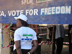 Sudan People's Liberation Movement Banner (International Foundation for Electoral Systems) Tags: woman southsudan sudan secession disabled vote gumbo poll voter ballot 2010 juba ifes southernsudanreferendum sudanpeoplesliberationmovementsplm