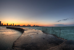 North Avenue Jetty (Brian Koprowski) Tags: city sunset lake distortion chicago skyline landscape illinois downtown pentax jetty lakemichigan fisheye hdr lakefront distort northavenuebeach pentaxk5 briankoprowski bkoprowski