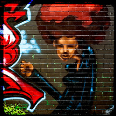 Graffitti Red Head (squint photo) Tags: streetart graffiti urbandecay graffitti spraypaint fineartphotography fineartprint nikond80 redafro sonjaquintero squintphotography