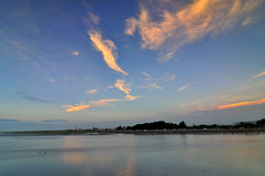 Nightfall at Kaomei Wetland  (Vincent_Ting) Tags: sunset sky water windmill silhouette clouds taiwan  formosa   windturbine wetland