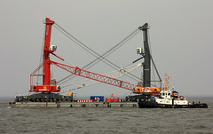 TAUCHER O.WULF 3 with two LIEBHERR - Mobile Harbour Cranes   for Antwerp (cuxclipper ) Tags: barco ship tug schiff barge elbe ponton cuxhaven schlepper remolcador hafenkran liebher harbourcrane maritimetransportation seetransport seatowage taucherowulf3 imo5419244