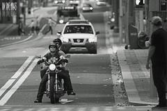 One Headlight (Ian Sane) Tags: road street city urban white man black sunglasses oregon portland ian photography one women girlfriend downtown candid tshirt images motorcycle headlight avenue staring 6th alder sane define
