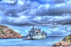 USNS Robert E. Peary headed out to sea. (Ross A Craig) Tags: stjohnsnewfoundland canadian navy united states hmcs fredericton athabaskan signal hill