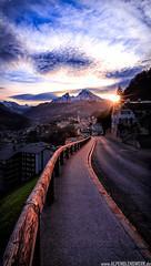 Last Light Berchtesgaden (PhilippN.83) Tags: berchtesgaden watzmann street sunset sonnenuntergang strase sun sonne berge mountains clouds wolken alps alpen canon railing gelnder