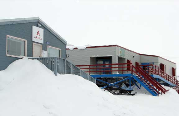 Economic development pre- and post-land claim: French nuclear giant Areva's Baker Lake office is next to the Jessie Oonark centre, opened in 1992 as a successor to the 1960s arts and craft centres set up to encourage Inuit to use artwork as a source of income. J. Kneen photo.