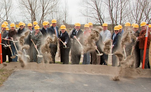Sen. Al Franken (eighth from left) joined officials from NESC and Rural Development in April to break ground on a project that will create jobs and deliver broadband to rural areas of Northeastern Minnesota.