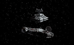 """I think we're in trouble."" (Blockaderunner) Tags: star back ship lego space millenium class destroyer empire falcon imperial wars strikes hoth avenger 7778 8099"