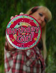 Birthday Girl ( Emma in Wonderland ) Tags: birthday pink party portrait woman selfportrait girl june shirt lady female women pin midsummer sp blond age badge blonde growing sparkly sic selfie thirtysomething checked emmasbirthday happybirthdaytome 2011 midsummersday fspasg emmainwonderland