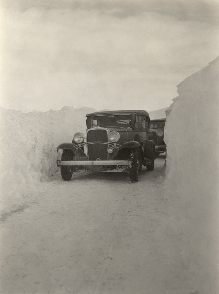 Convoy en route Teheran-Baghdad on snow-covered highway, near the court of a caravanserai. From the Damghan Expedition, Joint Expedition to Persia, 1932. Penn Museum image 173843.