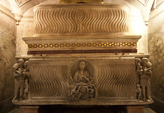 Sarcophagi of Roman Martyrs (Lawrence OP) Tags: sculpture rome shrine shepherd symmetry relief marble martyrs jonah crypt tombs relics sarcophagi santaprassede