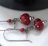 red and silver lampwork earrings 004 (Lune2009) Tags: flower glass lune handmade earring dangle lampwork darkred sterlingsilver lipstickred applered kidneyearwire hilltribessilver lunedesigns