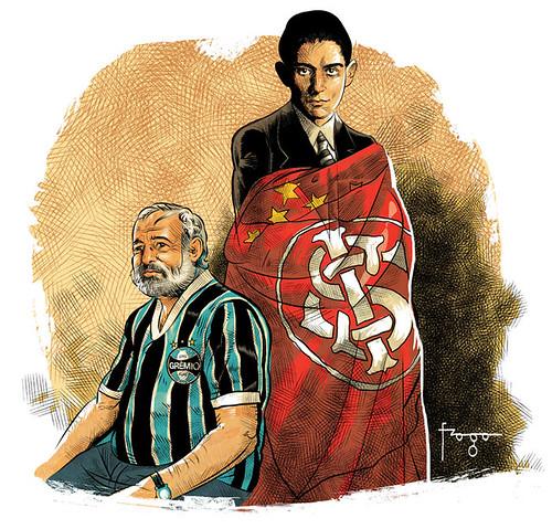 Ernest Hemingway, gremista e Franz Kafka colorado. by Fragadesenhos