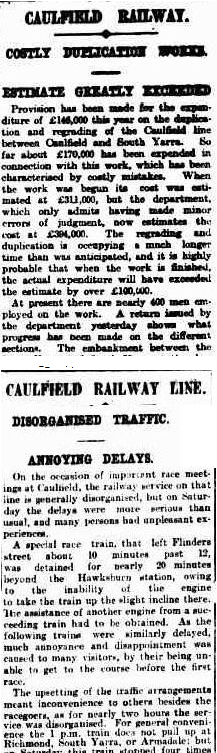 Argus articles about Caulfield line
