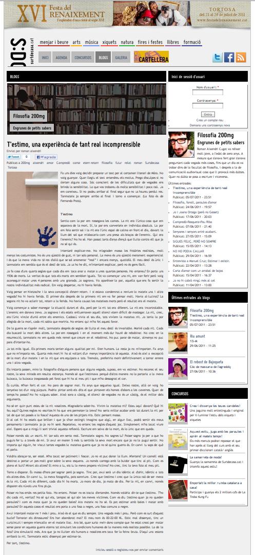 Captura del artículo publicado en Filosofia 200mg, surtdecasa.cat