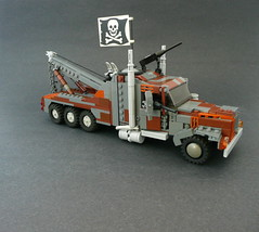 "Mack Heavy Hauler Battle Platform, ""Nixon's Grave"" (Lego Junkie.) Tags: max grave truck rust lego apocalypse nixon chuck ba mad tow norris digger apoc apocalego brickarmsrusted"