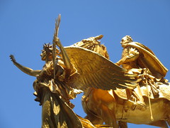 Civil War Statue General Sherman on Horseback with Angel 1348 (Brechtbug) Tags: street plaza new york city nyc roof cactus building green art yellow statue architecture angel bronze gold hotel leaf wings construction hands war pin afternoon shadows general near top flag fingers profile civil american underneath needles avenue 5th cushion sherman 59th the 06152014
