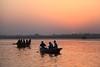 Varanasi, Sunrise over the Ganges (Heaven`s Gate (John)) Tags: india topf25 water sunrise river dawn boat peaceful atmosphere calm silence varanasi ripples idyll tranquil ganges 10faves 25faves johndalkin heavensgatejohn