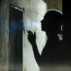 *** (Victoria Yarlikova) Tags: silhouette square 50mm noir alone cigarette smoke silhoette urbex abbandoned
