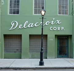 Delacroix (pburka) Tags: nola neworleans louisiana delacroix sign typography script green building