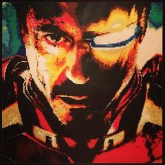 Iron Man : Tony Stark (Alter Ego Portrait) (JeddyBear3k) Tags: marvel iron man ironman tony stark tonystark robert downey jr robertdowneyjr rdj perler beads perlerbeads mosaic portrait