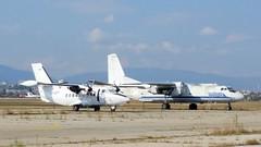 Let L-410UVP-E Turbolet c/n 912540 Heli Air registration LZ-CCP & Antonov An.26 c/n 13710 Bulgarian Air Force serial 080 (sirgunho) Tags: let l410uvpe turbolet cn 912540 heli air registration lzccp an26 13710 bulgarian force serial 080 l410 antonov an 26 sofia airport bulgaria stored preserved