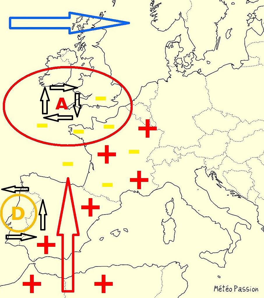 schématisation d'une situation à canicule type 2003 météopassion