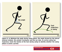 Minimum hip angle during swing phase: the angle formed by the lateral femoral condyle, the greater trochanter and the ear lobe. (b) Active swing leg trajectory: track the motion of the foot during swing to identify whether the swing phase is active (curve (sportEX journals) Tags: running runninginjury massagetherapy sportex sportsinjury sportsmassage runninggait sportexdynamics sportsrehabilitation