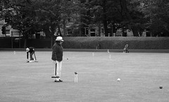 the exciting world of croquet (byronv2) Tags: blackandwhite bw monochrome blackwhite edinburgh meadows croquet tollcross croquetclub