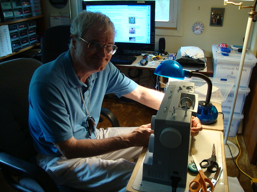 my dad and his sewing machine
