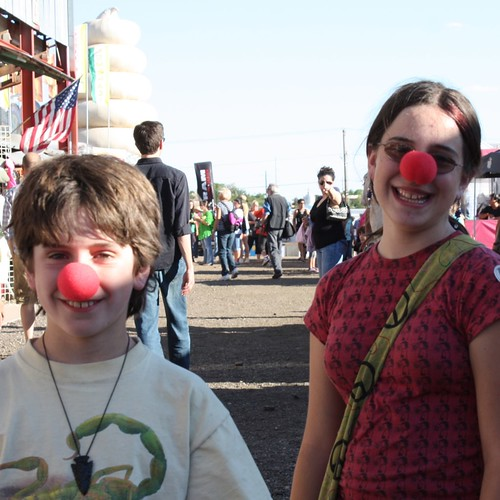 Gage and Ruth with clown noses
