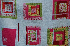 Close-up A's birthday quilt (bloomingpoppies) Tags: red cherries wonky freepieced whitesashing