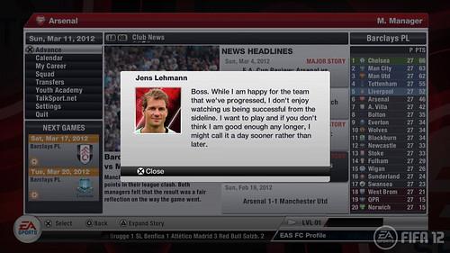 FIFA 12 PS3: Career Mode Arsenal Player Profile