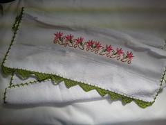 Pano de Prato Bordado Ponto Cruz - Tulipas Rosas B006 (SaluArts) Tags: flores de pano artesanato cruz ponto prato copa bordado