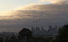 (Erik Anderson) Tags: city morning hot clouds sunrise canon balloons air melbourne 7d cbd footscray