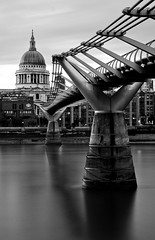 S is for St Pauls over Thames (ChrisTribe1971) Tags: longexposure london thames river stpauls le milleniumbridge monochrone
