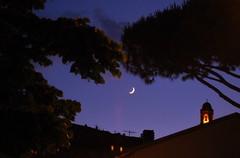 La notte  giovane (smiley_traveler) Tags: blue light sky orange moon night bells landscape calm tuscany darkblue specialnight