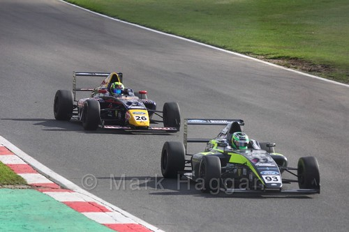 Zane Goddard and Luis Leeds in British F4 during the BTCC Brands Hatch Finale Weekend October 2016