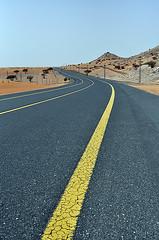 Hotel Dubai  . . . On a light desert highway . . . (Muir...) Tags: road tarmac yellow nikon dubai desert uae scottish line d5000