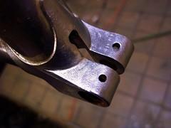 Seat Clamp Vent Holes (Capricorn Bicycles) Tags: road bicycle work vintage handmade steel progress fork frame lug framebuilding lugs brazing lugged braze